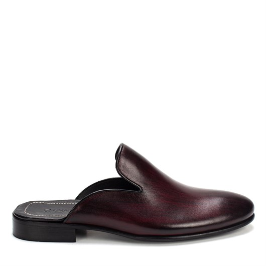 010 Celal Gültekin Men's Leather Slippers Maroon