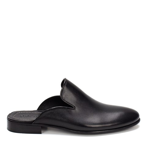 010 Celal Gültekin Mens Leather Slippers Black